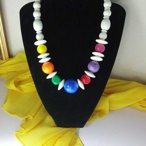 Retro Vintage Multi Colored Bead Necklace